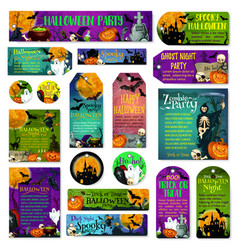 Halloween holiday trick treat greeting cards vector