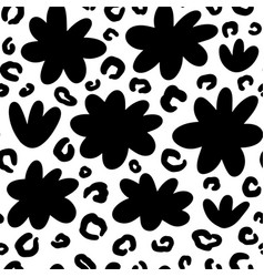 hand drawn ink flowers shapes and leopard pattern vector image