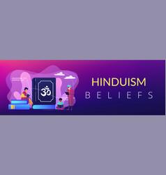 Hinduism concept banner header vector