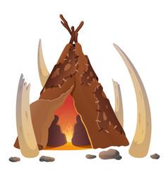 Hut ancient people flat vector