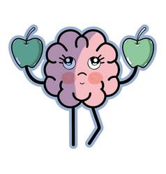 icon adorable kawaii brain eating apple vector image
