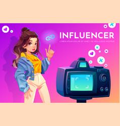influencer blogger girl beauty vlog broadcasting vector image