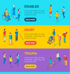 Isometric disabled people characters banner vector