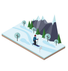 isometric man skiing cross country skiing winter vector image