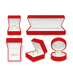 jewelry in red boxes realistic set vector image