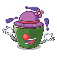 Juggling indian masala tea isolated on mascot vector