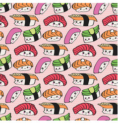 kawaii sushi seamless pattern vector image