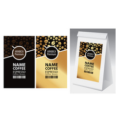 Labels and paper packaging for coffee beans vector