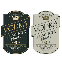 labels for vodka with inscriptions and crown vector image