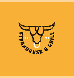 Logo bull vintage meat restaurant or butchery icon vector