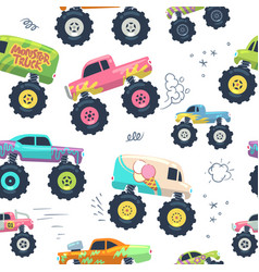 Monster cars seamless pattern kid trucks with big vector