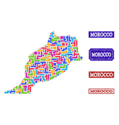 Mosaic map of morocco and scratched stamps collage vector