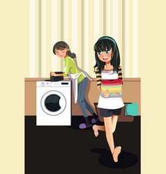 mother daughter doing laundry vector image