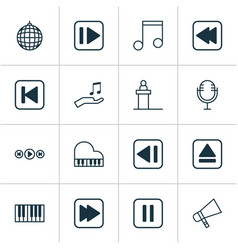 Music icons set collection of octave following vector