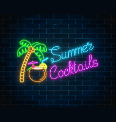 Neon summer cocktail bar sign on dark brick wall vector