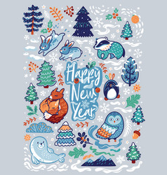 new year card with decorative animals calligraphy vector image