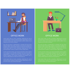 Office work banners dreaming males sitting at work vector