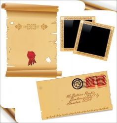 Old paper envelope and frames vector