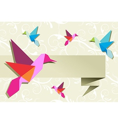 Origami hummingbird group with banner vector image