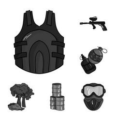 Paintball team game monochrome icons in set vector