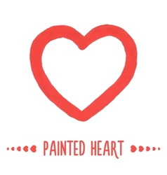 Painted hand drawn outlined heart vector image