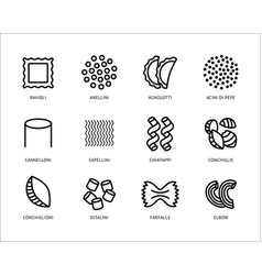 pasta types line art icons set vector image