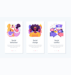 People interaction and communication app interface vector