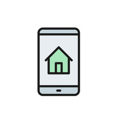 phone with house real estate mobile app flat vector image