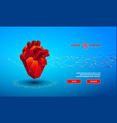 polygonal banner with a red low poly heart vector image