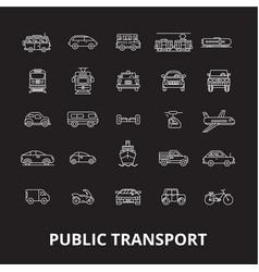 public transport editable line icons set on vector image