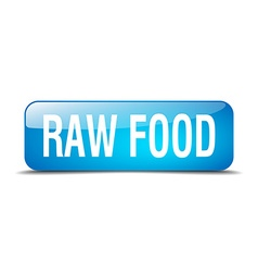 Raw food blue square 3d realistic isolated web vector