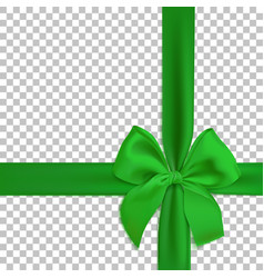 realistic green bow and ribbon isolated vector image