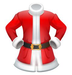 Red fur coat traditional santa claus clothes vector