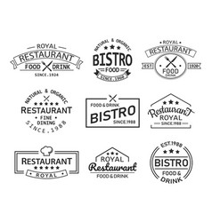 Restaurant and cafe retro logo and branding label vector
