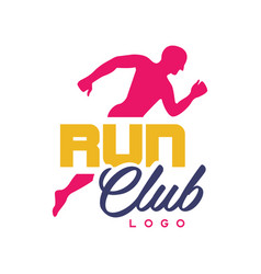 Run club logo template emblem with abstract vector