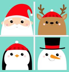 Santa claus raindeer deer snowman penguin bird vector