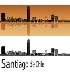 Santiago de chile skyline in orange vector