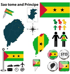 Sao tome and Principe map vector image