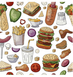 Seamless pattern with famous fast food and drinks vector