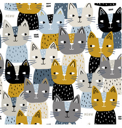 seamless trendy pattern with cute cats vector image