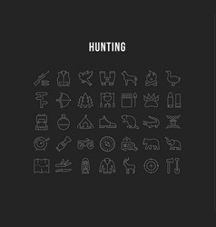 set flat line icons hunting vector image