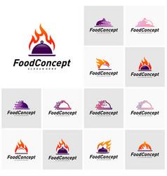 set hot food logo concept fast cooking logo vector image