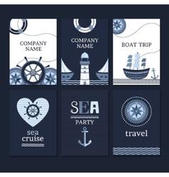 set marine cards vector image