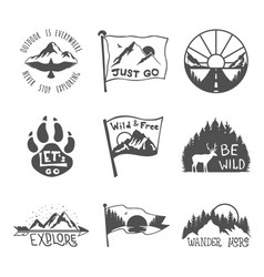 set nine black travel emblems camping outdoor vector image