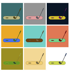 Set of icons in flat design golf stick and hole vector