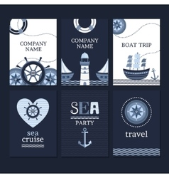 Set of marine cards vector
