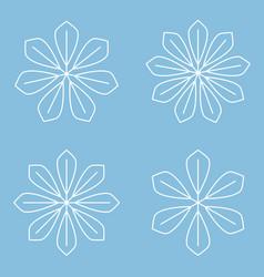 Set of simple round mandala snowflakes on blue vector