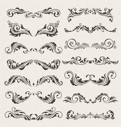 set of swirl elements for design vector image