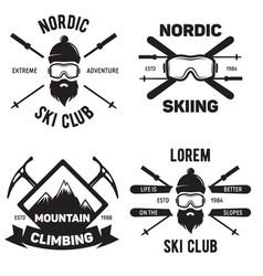 Set ski club vintage mountain winter badges vector
