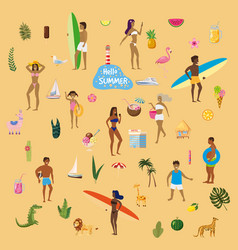 set summer vacation a lot people at beach or vector image